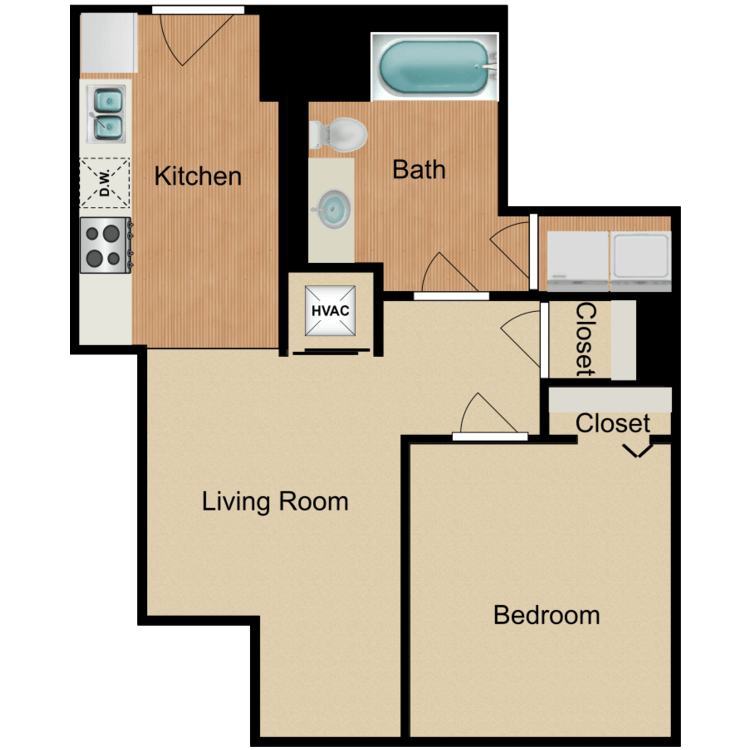 Floor plan image of 1 Bedroom B