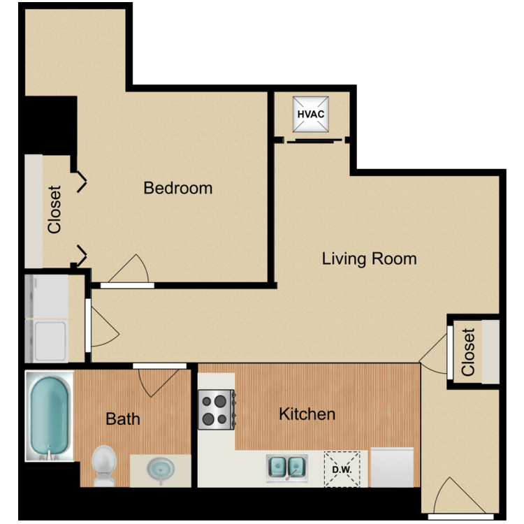 Floor plan image of 1 Bedroom E