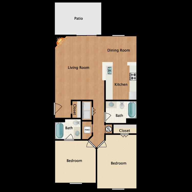 Floor plan image of 2 Bed 2 Bath Garden