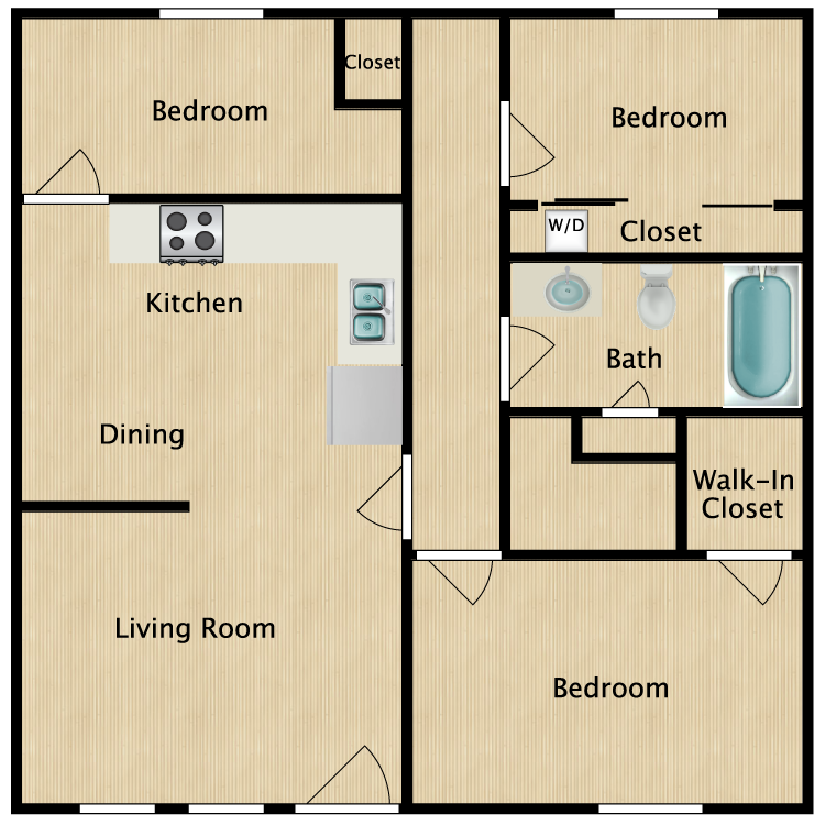Floor plan image of 3 Bed 1 Bath End