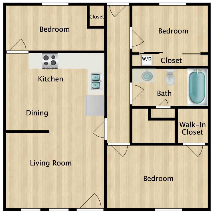 Floor plan image of 3 Bed 1 Bath Middle