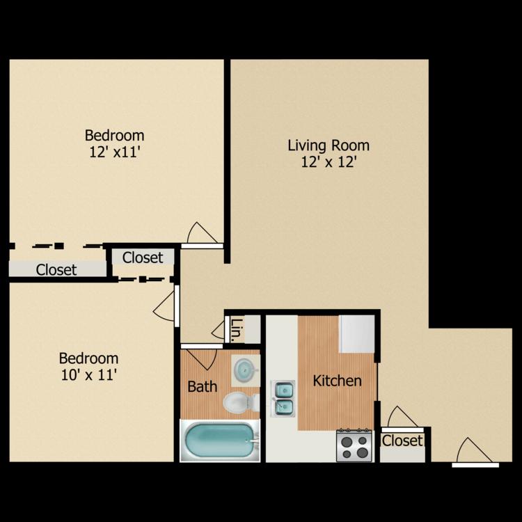 Two Bedroom One Bath floor plan image