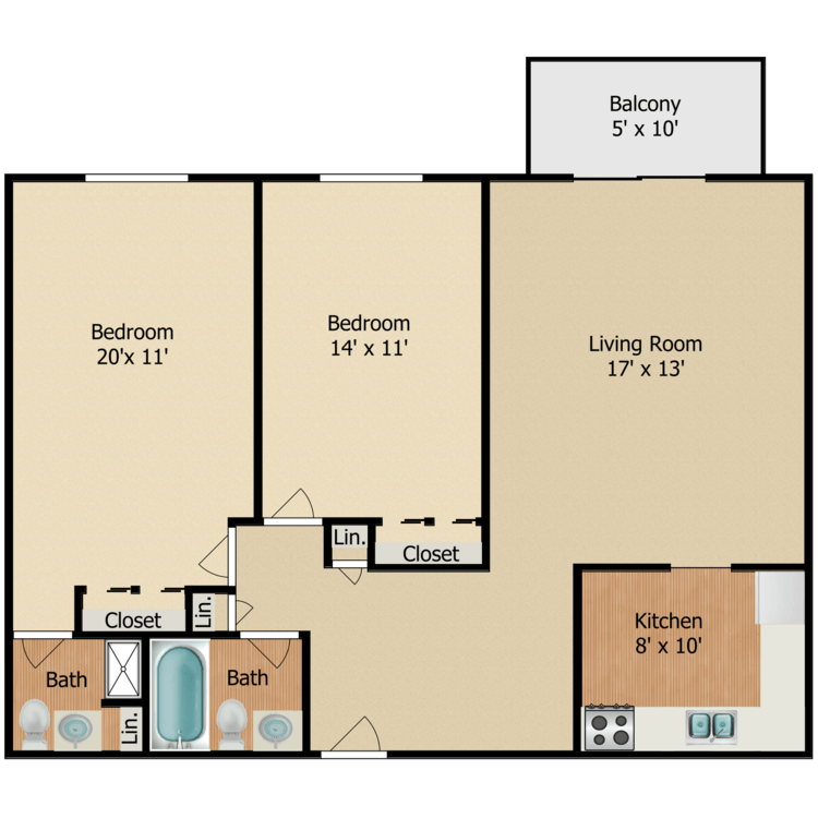 Two Bedroom Two Bath floor plan image