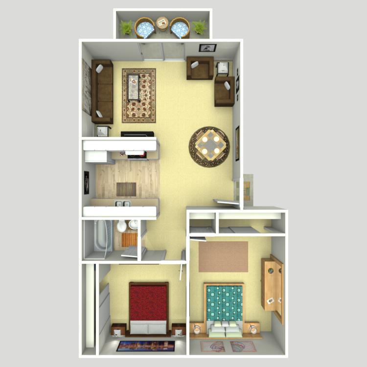 Floor plan image of 2 Bed 1 Bath Top