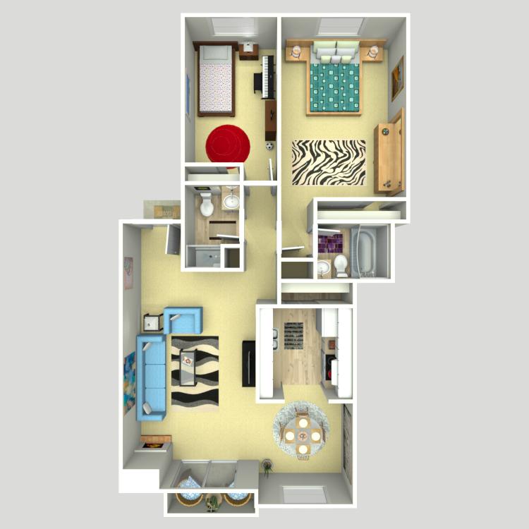 Floor plan image of 2 Bed 1.75 Bath