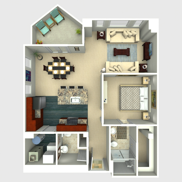 Floor plan image of 1 Bed 1.5 Bath - Excelsior