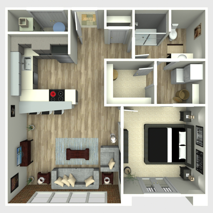 Floor plan image of 1 Bed 1 Bath - Ovation