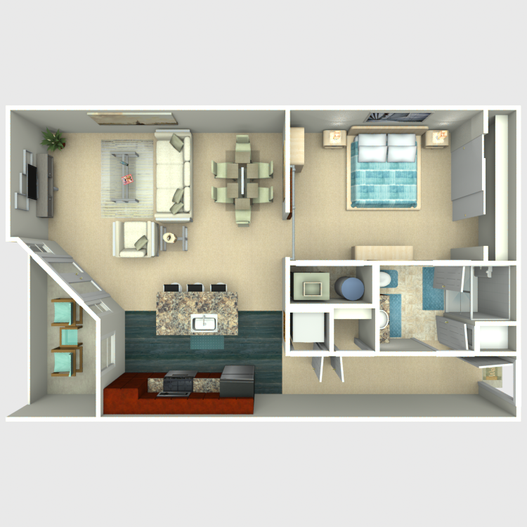 Floor plan image of 1 Bed 1 Bath - Excelsior