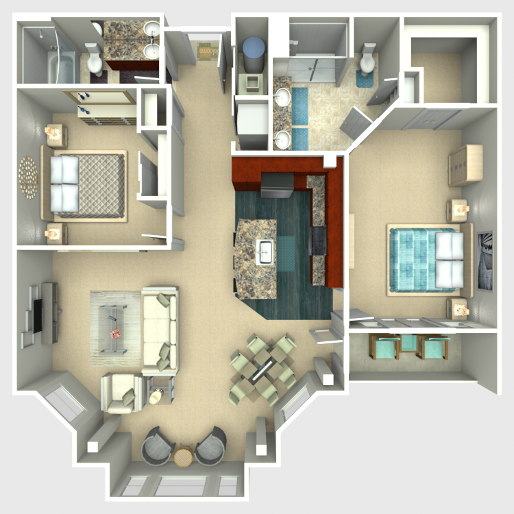 Floor plan image of 2 Bed 2 Bath - Excelsior