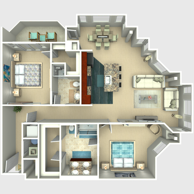 Floor plan image of 2 Bed 2 Bath Corner - Excelsior