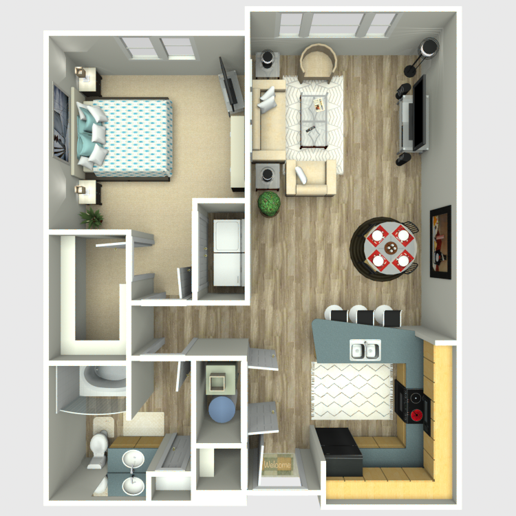 Floor plan image of 1 Bed 1 Bath - Residences