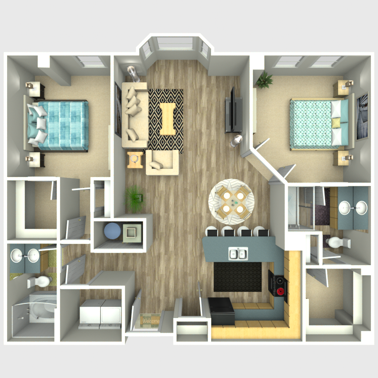 Floor plan image of 2 Bed 2 Bath - Residences