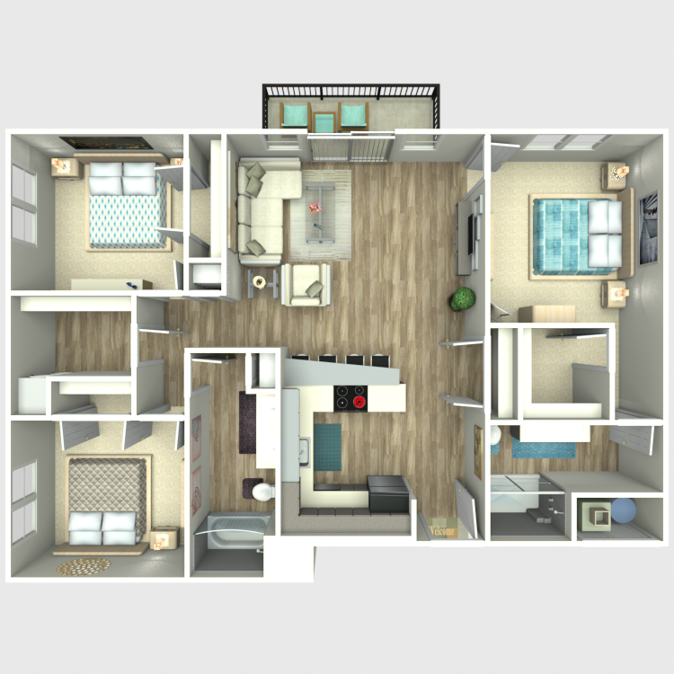 Floor plan image of 3 Bed 2 Bath - Ovation