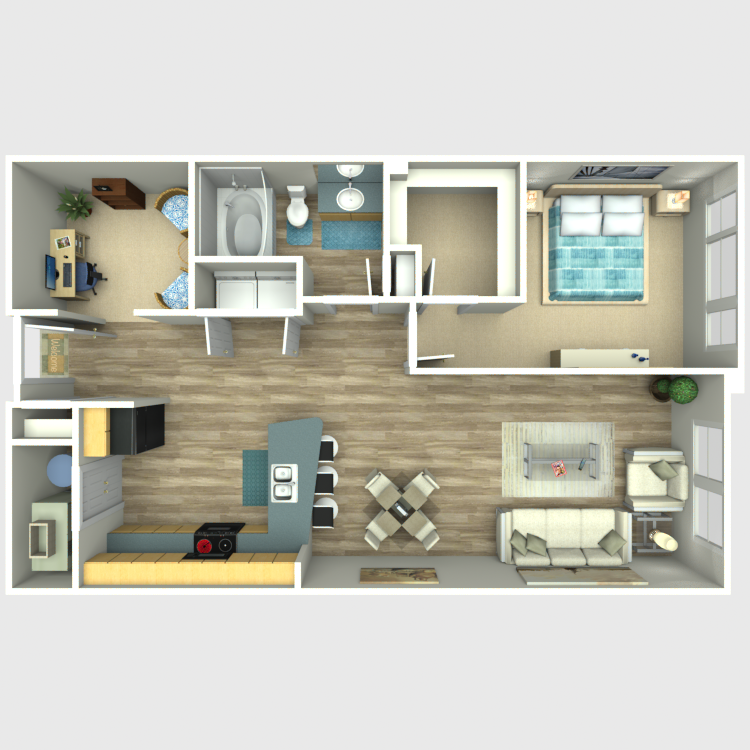 Floor plan image of 1 Bed + Den 1 Bath - Residences