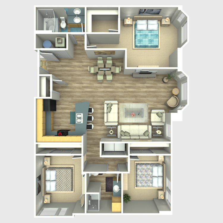 Floor plan image of 3 Bed 2 Bath - Residences