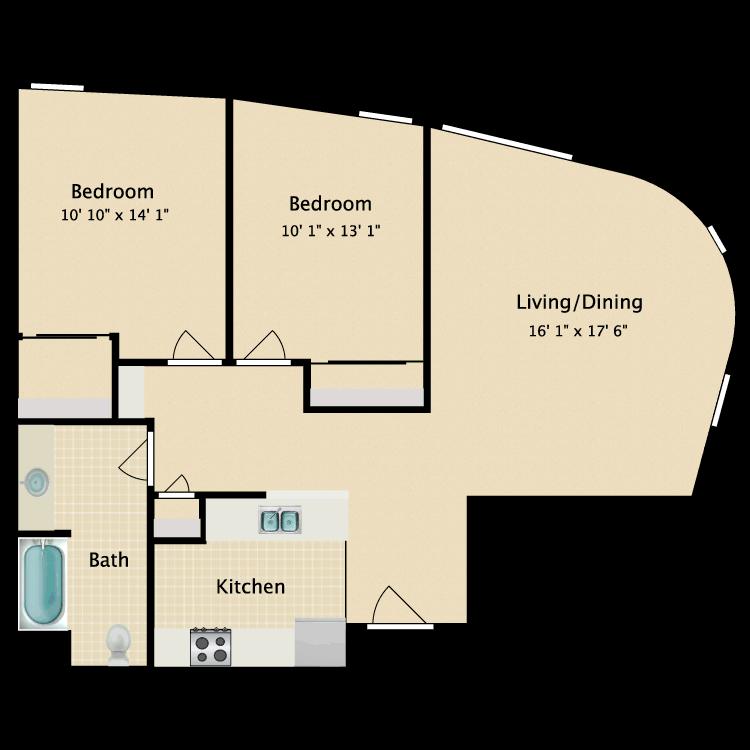 Floor plan image of Two Bedroom C