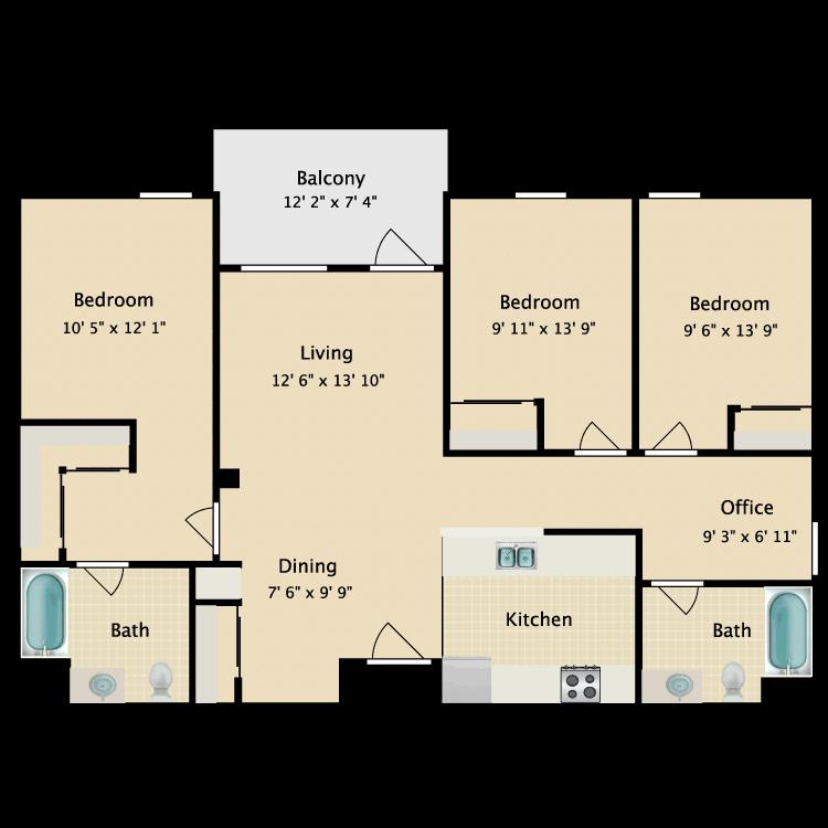 Floor plan image of Three Bedroom