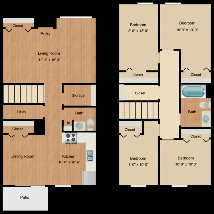 Floor plan image of 4 Bed 1.5 Bath