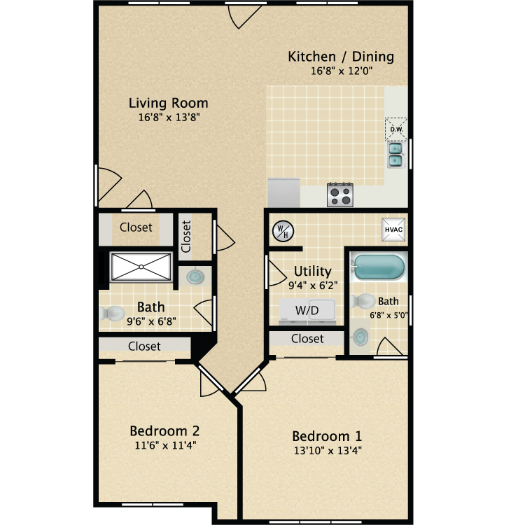Floor plan image of 2 Bedroom 2 Bath 1