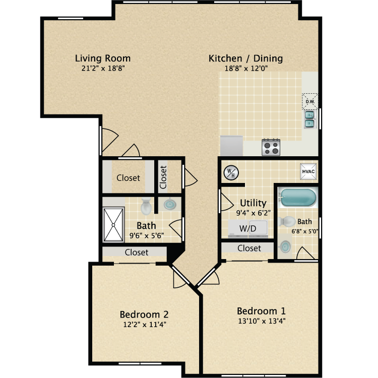 Floor plan image of 2 Bedroom 2 Bath 2