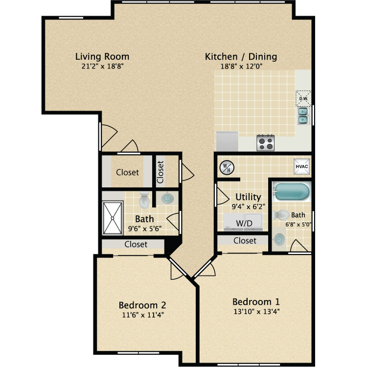 Floor plan image of 2 Bedroom 2 Bath 3