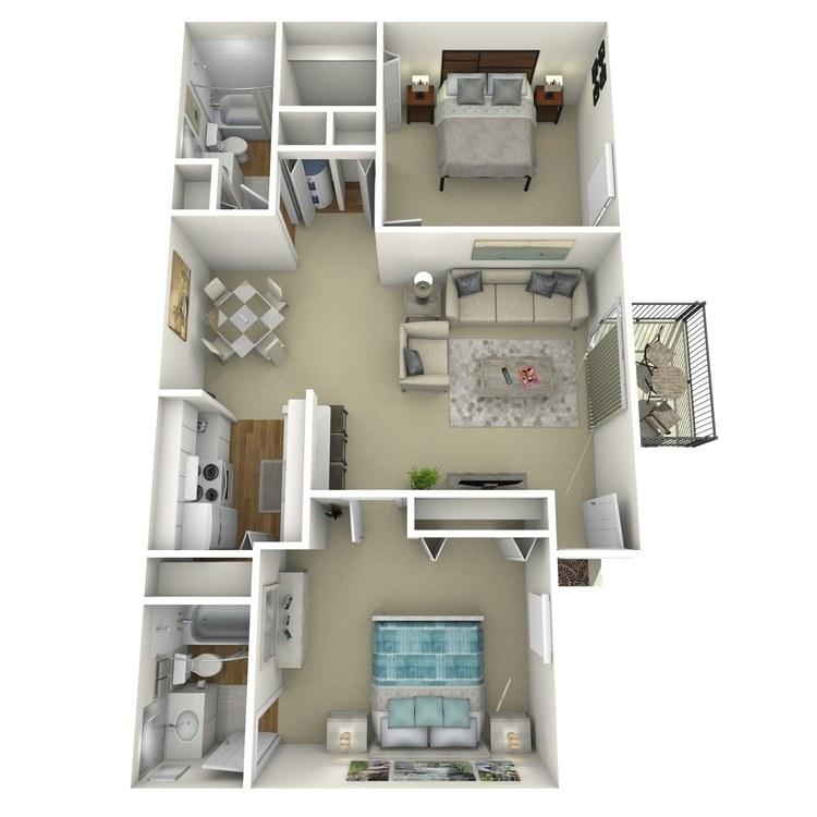 Floor plan image of 2 Bed 2 Bath B1