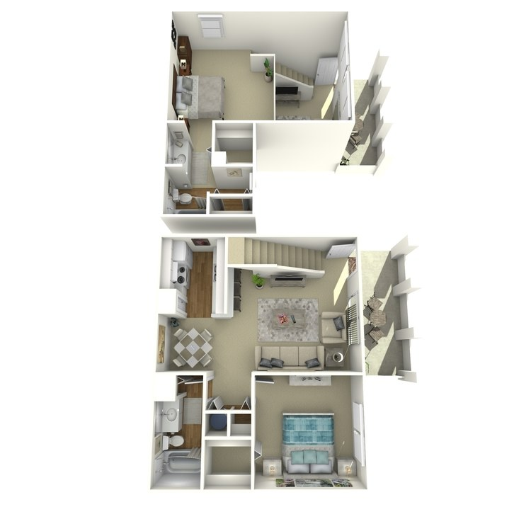 Floor plan image of 1 Bed 2 Bath with Loft