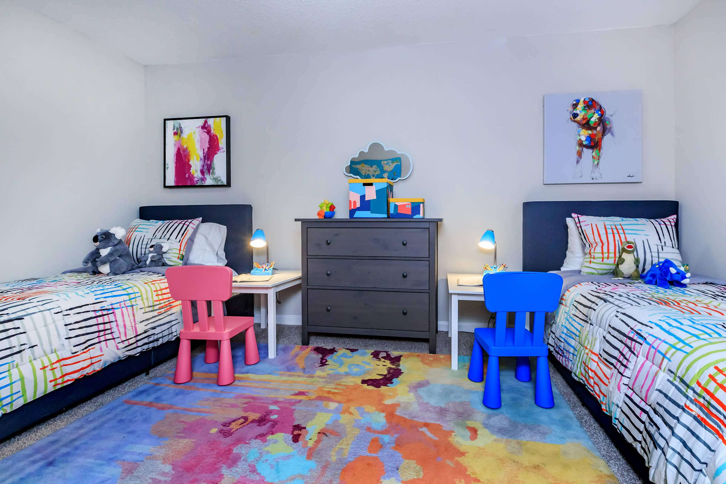 a colorful toy on a bed