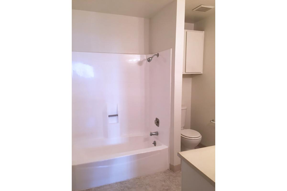 a large white tub next to a shower
