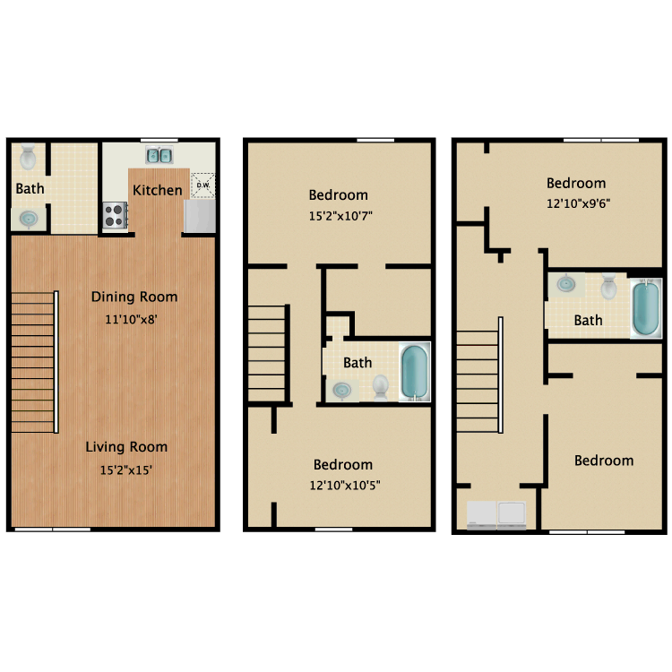 Floor plan image of 4 Bed 2.5 Bath