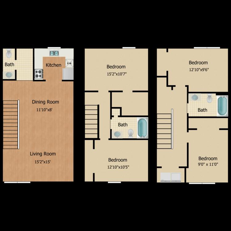 Floor plan image of 4 Bed 2.5 Bath