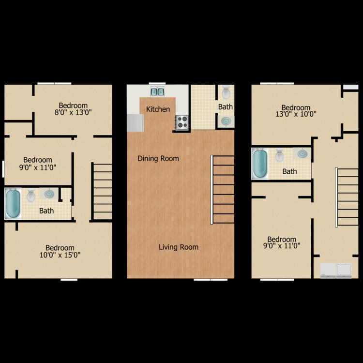 Floor plan image of 5 Bed 2.5 Bath