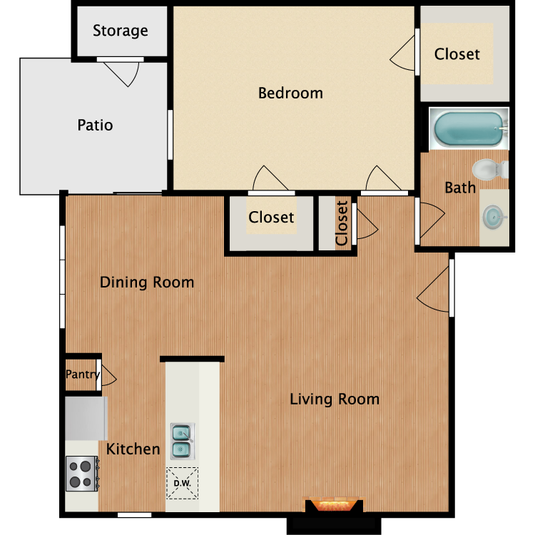 Floor plan image of A3 1 Bed 1 Bath