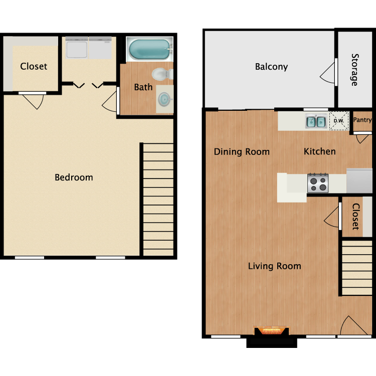 Floor plan image of A4 1 Bed 1 Bath TH