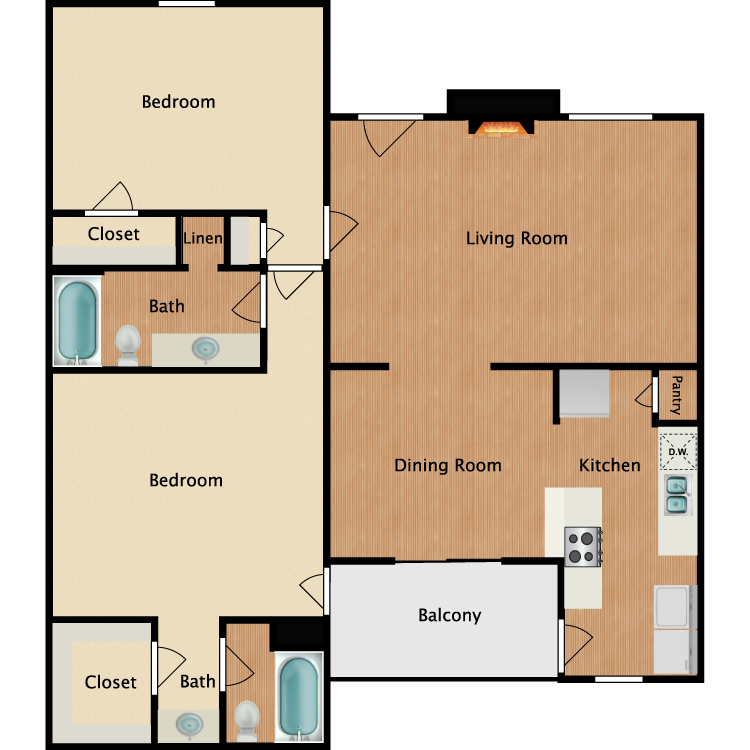Floor plan image of B1 2 Bed 2 Bath