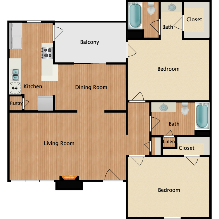 Floor plan image of B2 2 Bed 2 Bath