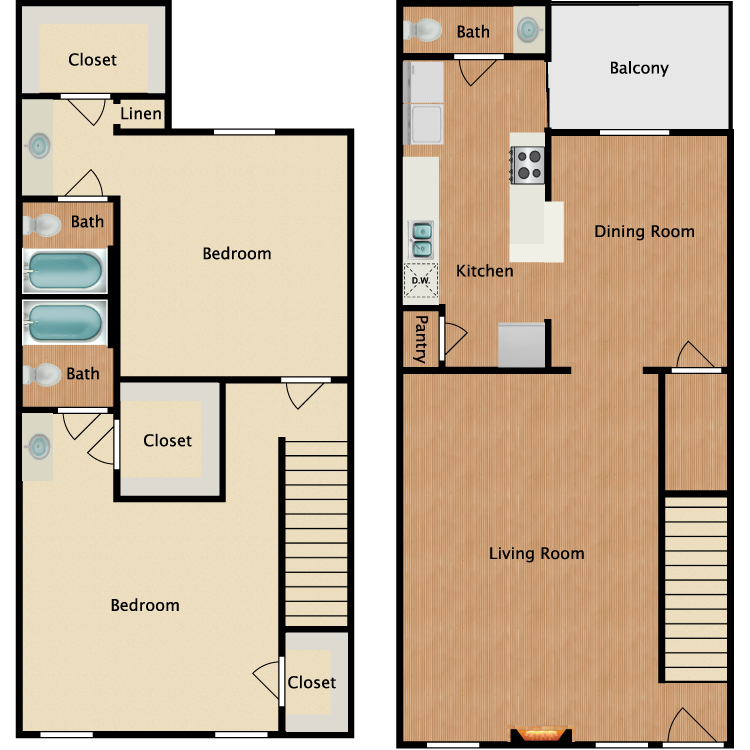 Floor plan image of B3 2 Bed 2 Bath TH