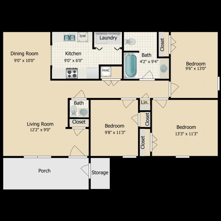 Floor plan image of 3 Bed 1.5 Bath