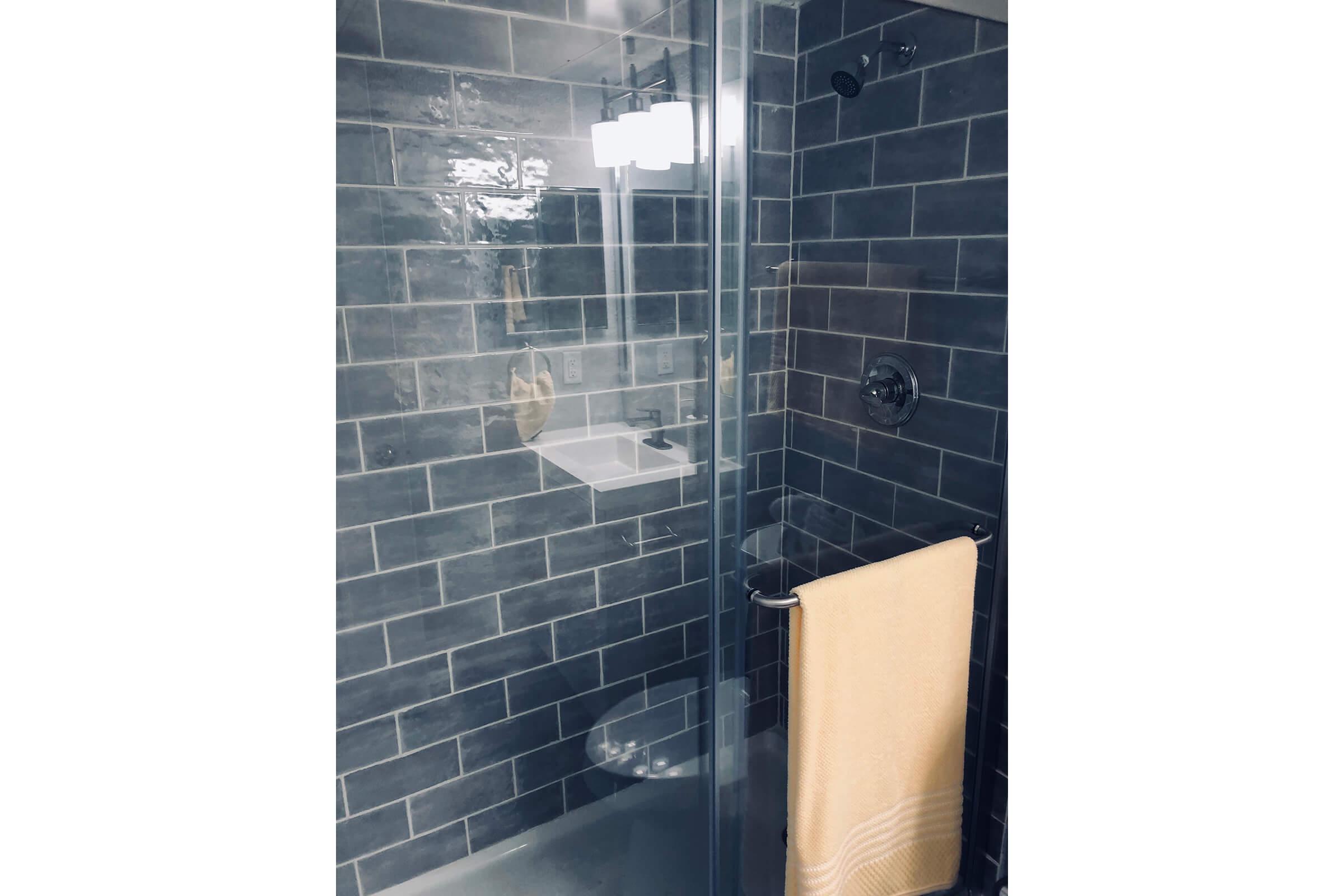a tiled shower