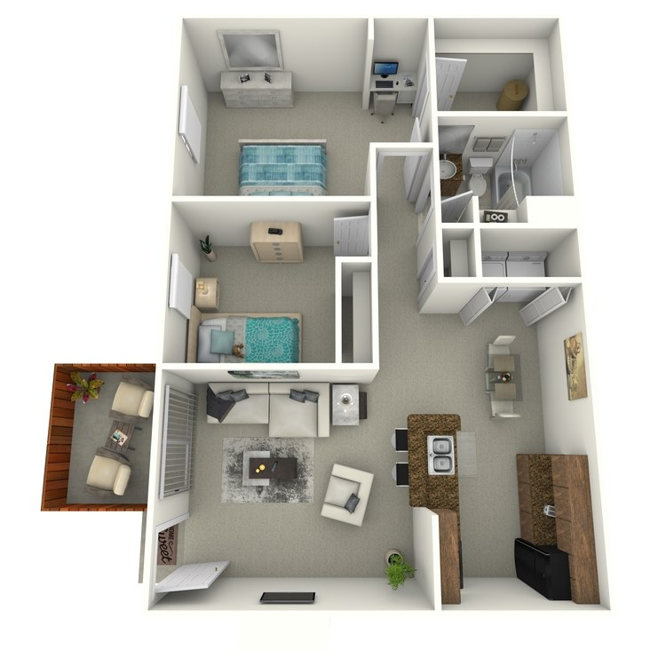 Floor plan image of 2 Bedroom Middle R