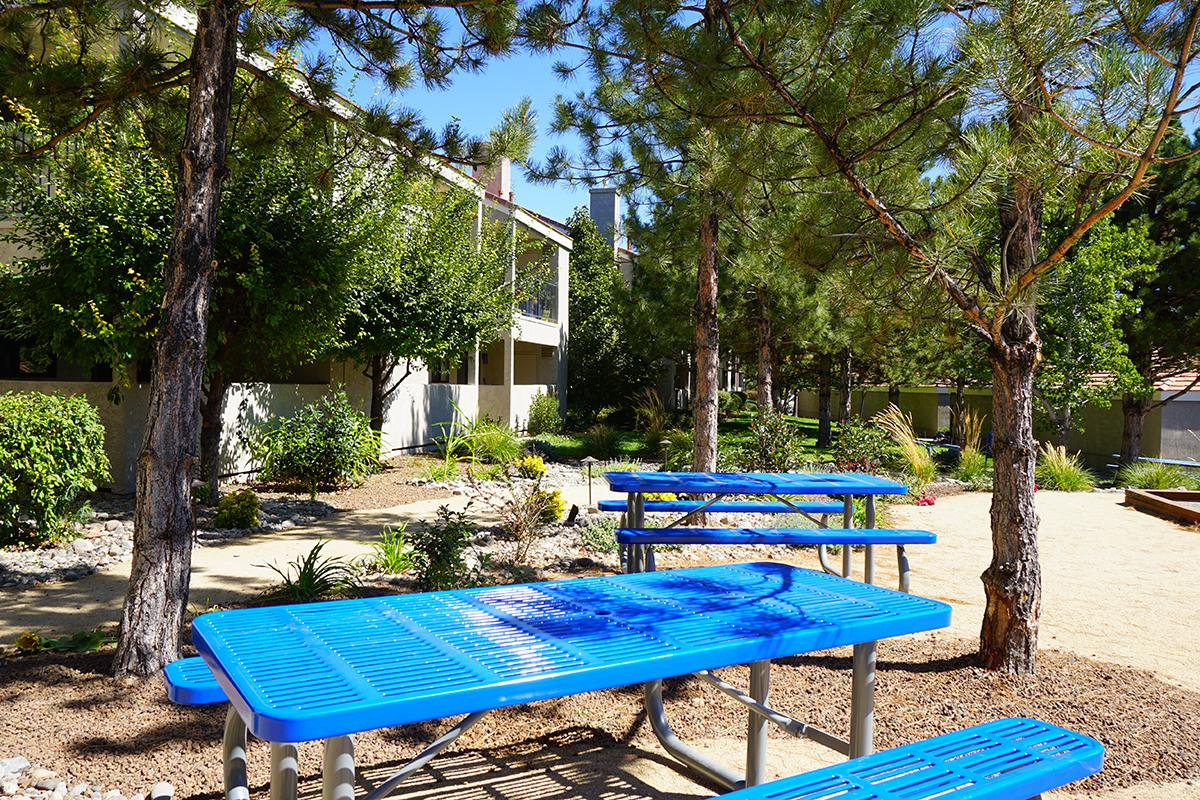 a blue bench in front of a picnic table