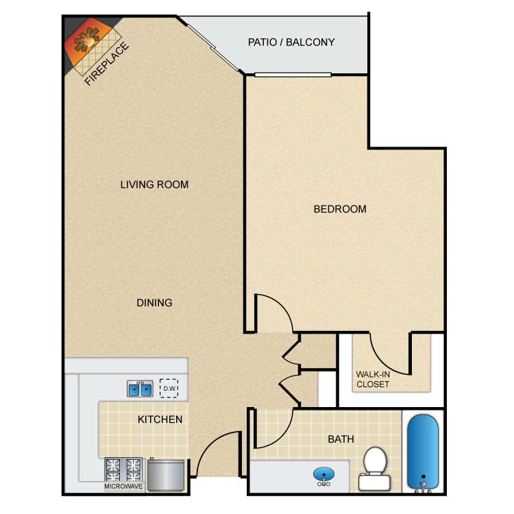Floor plan image of 1 Bed 1 Bath with Alcove