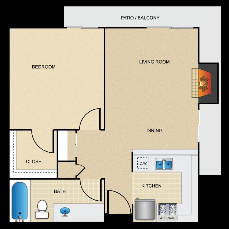 Floor plan image of 1 Bed 1 Bath Corner