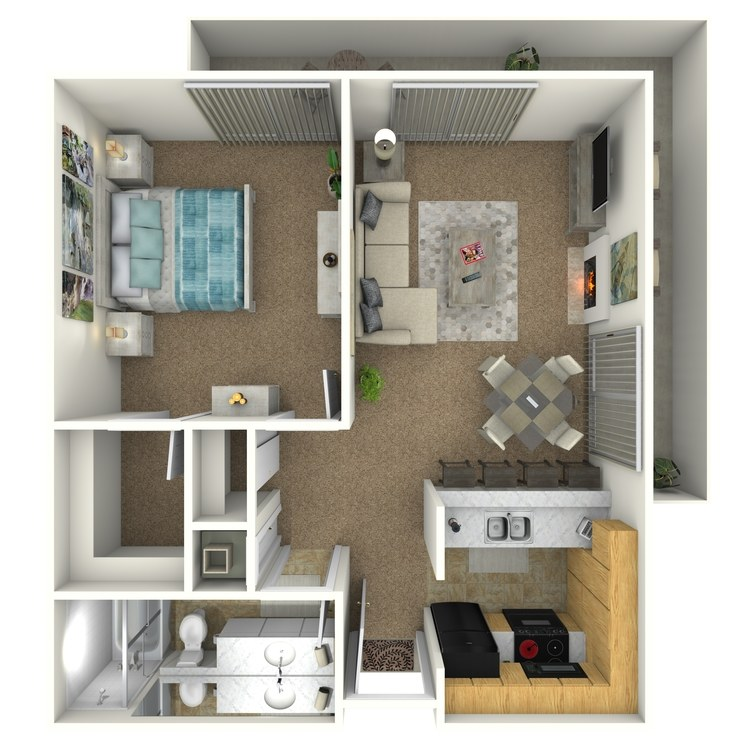 Floor plan image of 1 Bed 1 Bath Corner