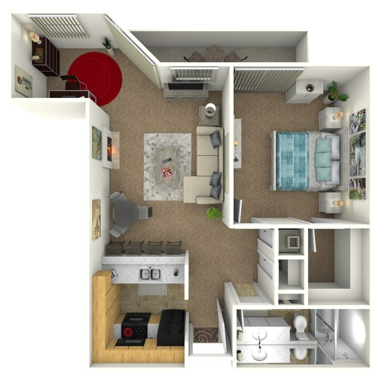 Floor plan image of 1 Bed 1 Bath with Den
