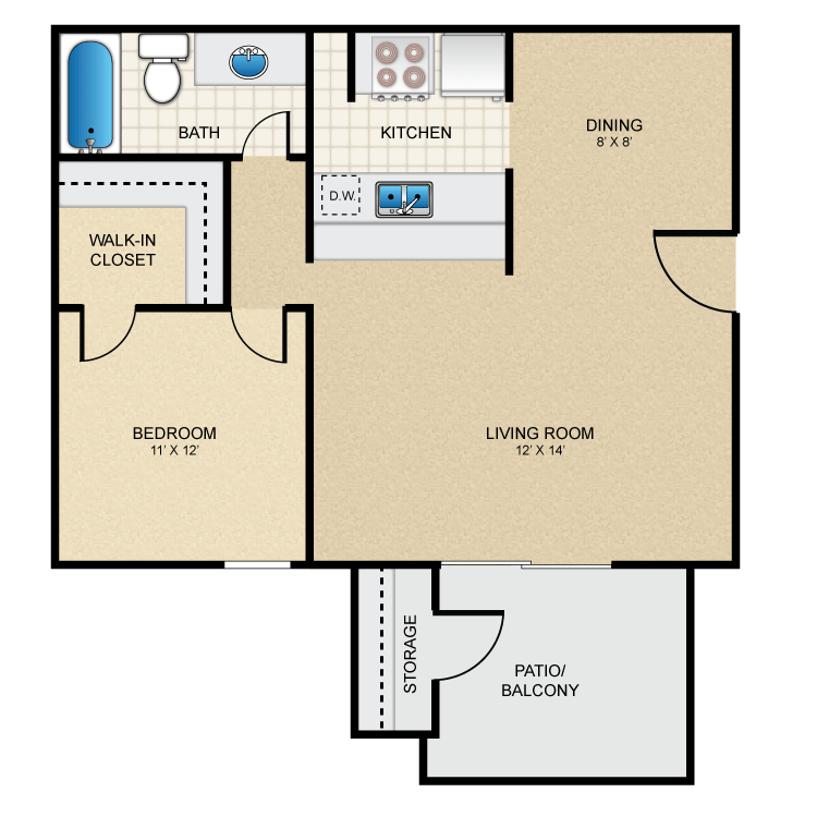 Floor plan image of 1 Bed 1 Bath - A1