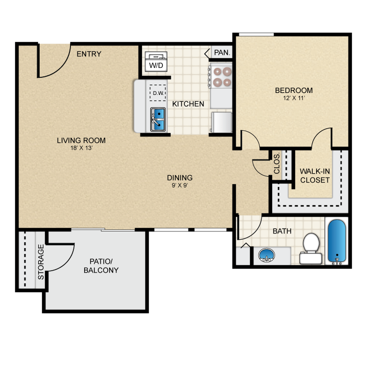 Floor plan image of 1 Bed 1 Bath - A2