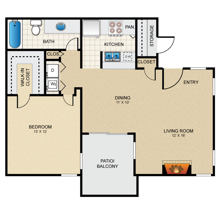 Floor plan image of 1 Bed 1 Bath - A3