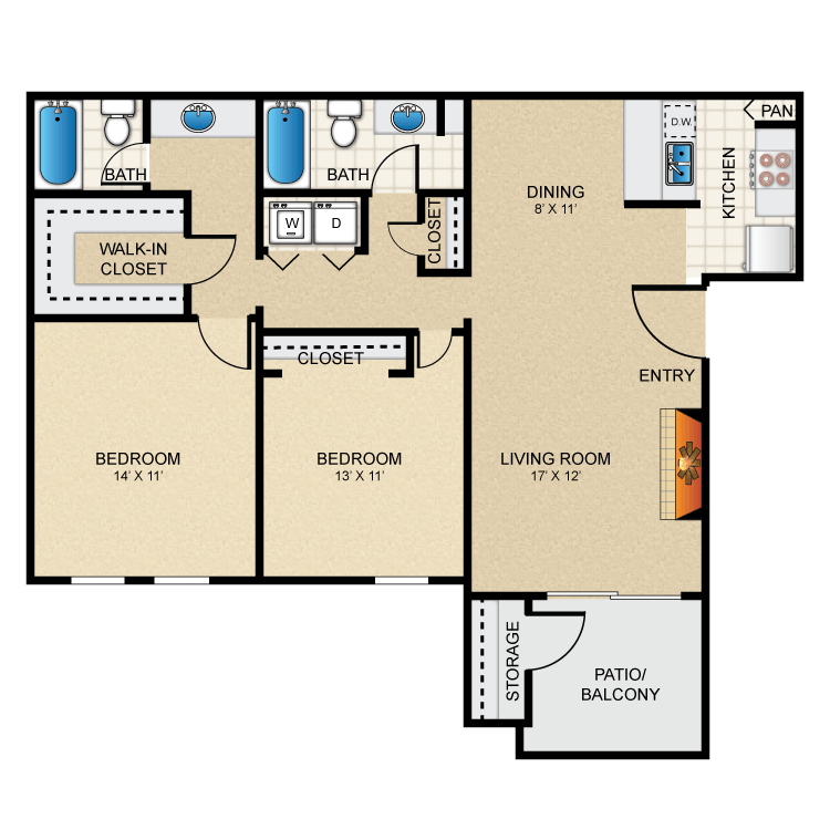 Floor plan image of 2 Bed 2 Bath - B1