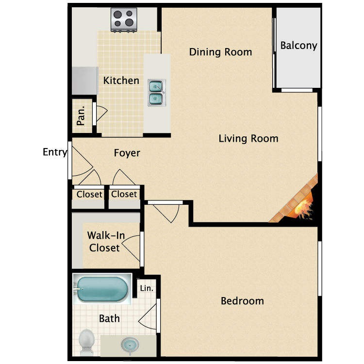 Floor plan image of 1 Bed 1 Bath Plan D